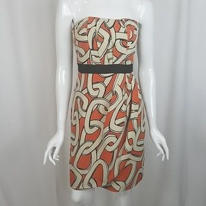 Limited Abstract Print Strapless Evening Dress